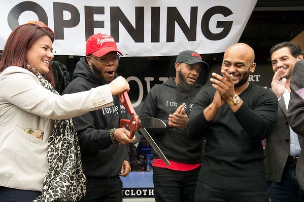 10/17/19 Wesley Bunnell | StaffrrNew Britain's newest clothing store, Un Known, opened on Main St with a ribbon cutting on Thursday afternoon. Mayor Erin Stewart, co-owner Maciah Clark, co-owner Craig Clark and co-owner Jeremy Sykes.