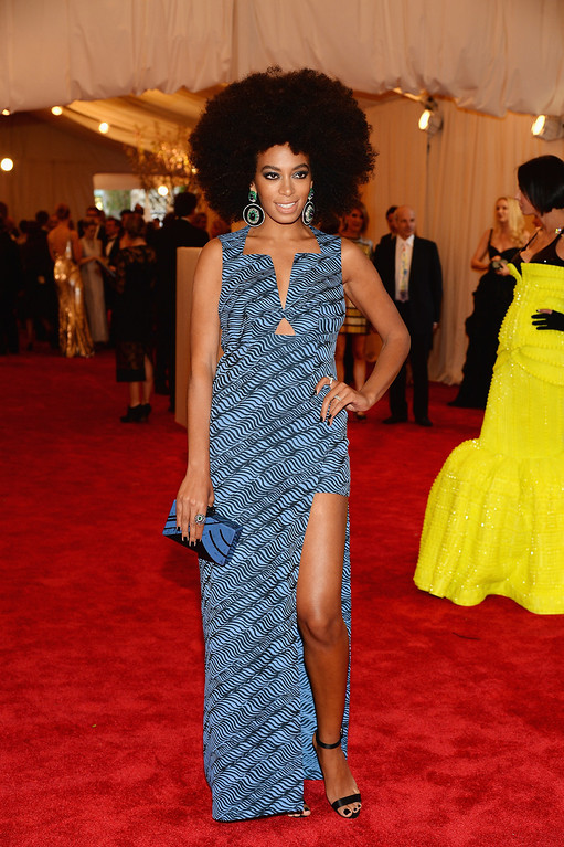 """. Solange Knowles attends the Costume Institute Gala for the \""""PUNK: Chaos to Couture\"""" exhibition at the Metropolitan Museum of Art on May 6, 2013 in New York City.  (Photo by Dimitrios Kambouris/Getty Images)"""