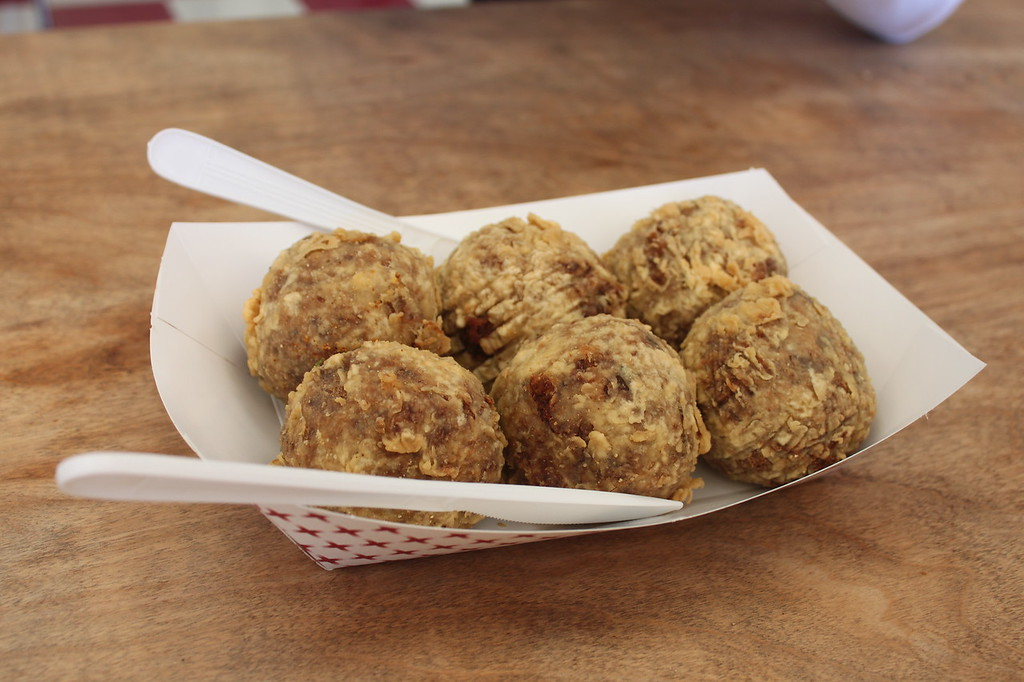 Boudin balls breaded and fried at Quebedeaux's in Pineville