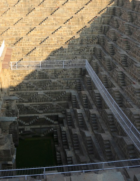 Stepwells are wells or ponds in which the water is reached by descending a set of steps common in India.