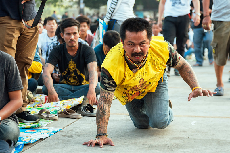 At the Sak Yant magic tattoo festival, Wat Bang Phra, Nakhon Pathom, Thailand, March 3, 2018