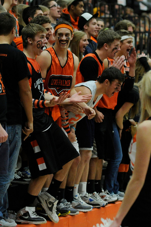 . Rangers fans had a good time celebrating Friday night. The Lewis-Palmer High School boy\'s basketball team defeated Broomfield 75-53 Friday night, December 7, 2012.  Karl Gehring/The Denver Post