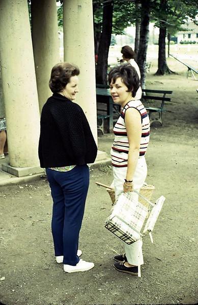 Mom and Kaye Edborg at Allen Park family reunion.