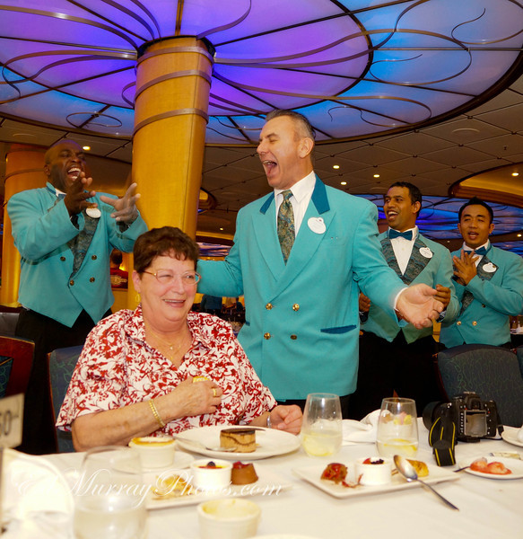 """Happy Birthday: My mother-in-law celebrated a birthday while we were on the ship (Actually 3 of us did!!!) and the crew went all out singing """"Happy Birthday""""....  5/1/2013"""
