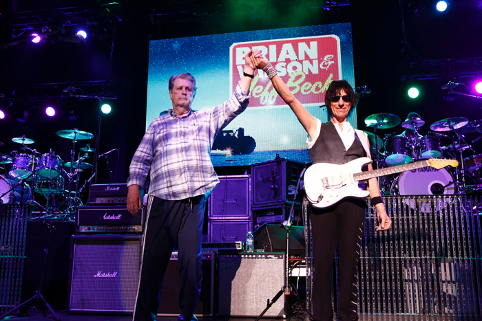 Description of . Brian Wilson and Jeff Beck at the Fox Theatre in Detroit on Friday, Oct. 25, 2013. Photo by Ken Settle