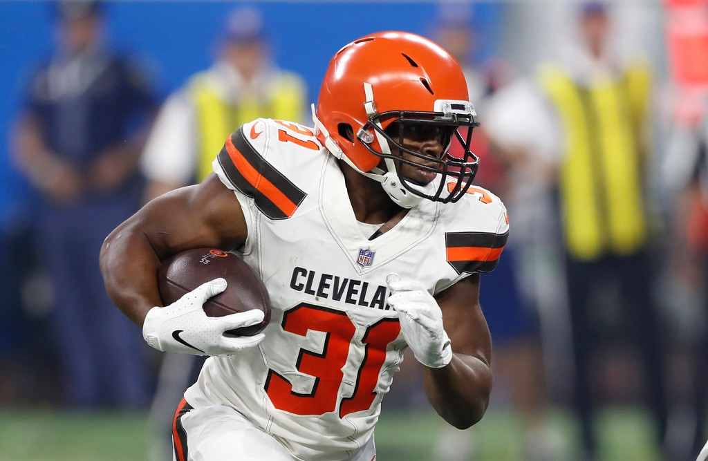 . Cleveland Browns running back Nick Chubb (31) rushes during the first half of an NFL football preseason game against the Detroit Lions, Thursday, Aug. 30, 2018, in Detroit. (AP Photo/Carlos Osorio)