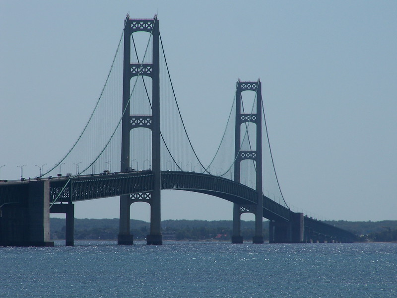 The 5-mile long Mackinac Bridge is currently the third longest suspension bridge in the world.