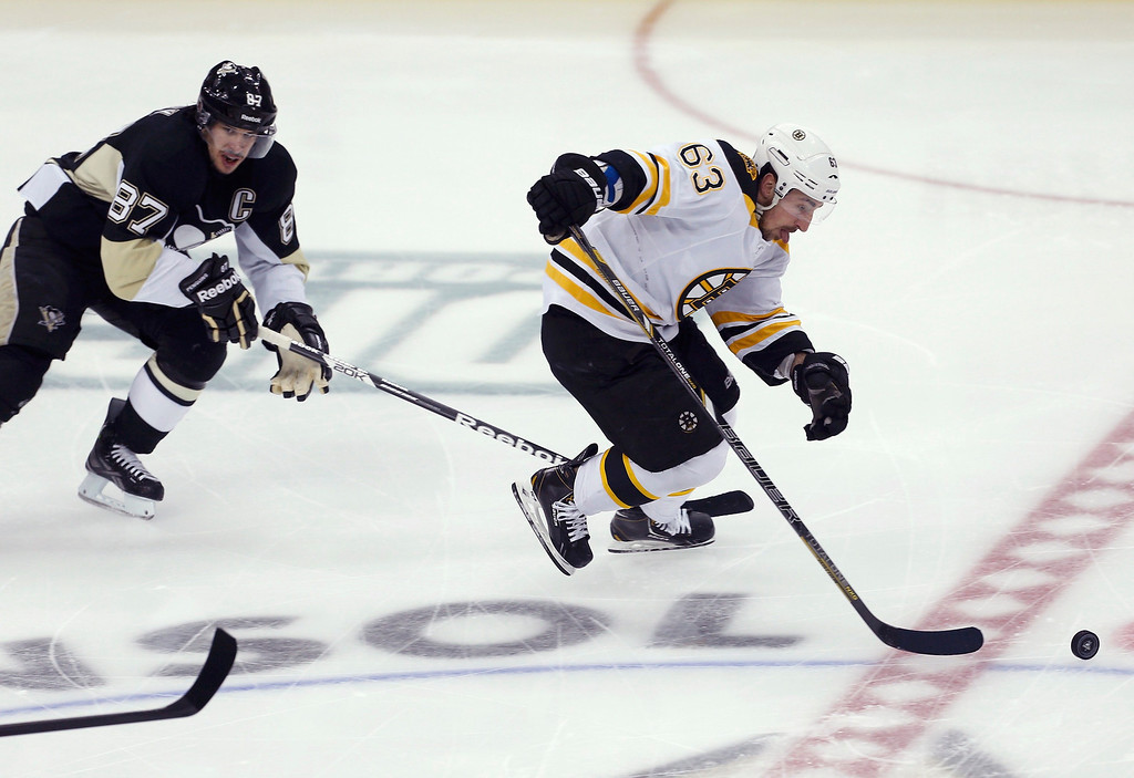 . Boston Bruins left wing Brad Marchand (63) skates away from Pittsburgh Penguins center Sidney Crosby (87) to a first period breakaway goal in Game 2 of their NHL Eastern Conference finals hockey series in Pittsburgh, Pennsylvania, June 3, 2013.  REUTERS/Jason Cohn