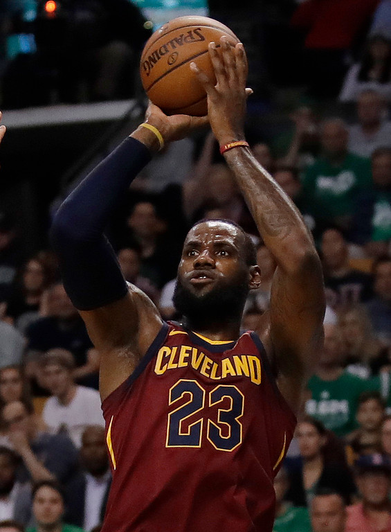 . Cleveland Cavaliers forward LeBron James shoots against the Boston Celtics during the first half in Game 2 of the NBA basketball Eastern Conference finals Tuesday, May 15, 2018, in Boston. (AP Photo/Charles Krupa)