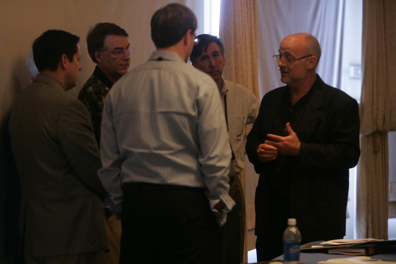 """CTO Design Challenge"": Moderator David Brin (R) hits the ground running -- the Challenge will last 3 days: (L-R) Kelly Millsaps, Brian Higbee, Ron Roberts, Larry Smarr, and Kevin Walter"