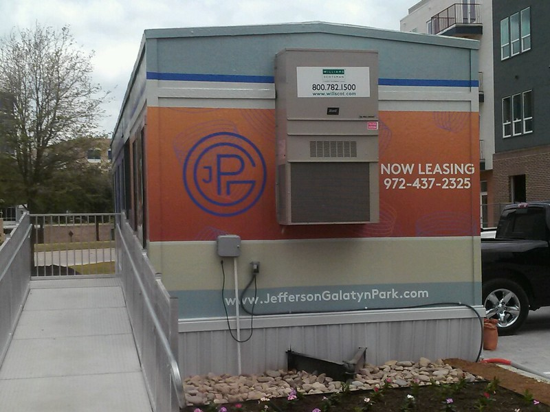 Exterior of mobile lease up office trailer for Jefferson Galatyn Park for ZRS Management. #jeffersongalatynpark