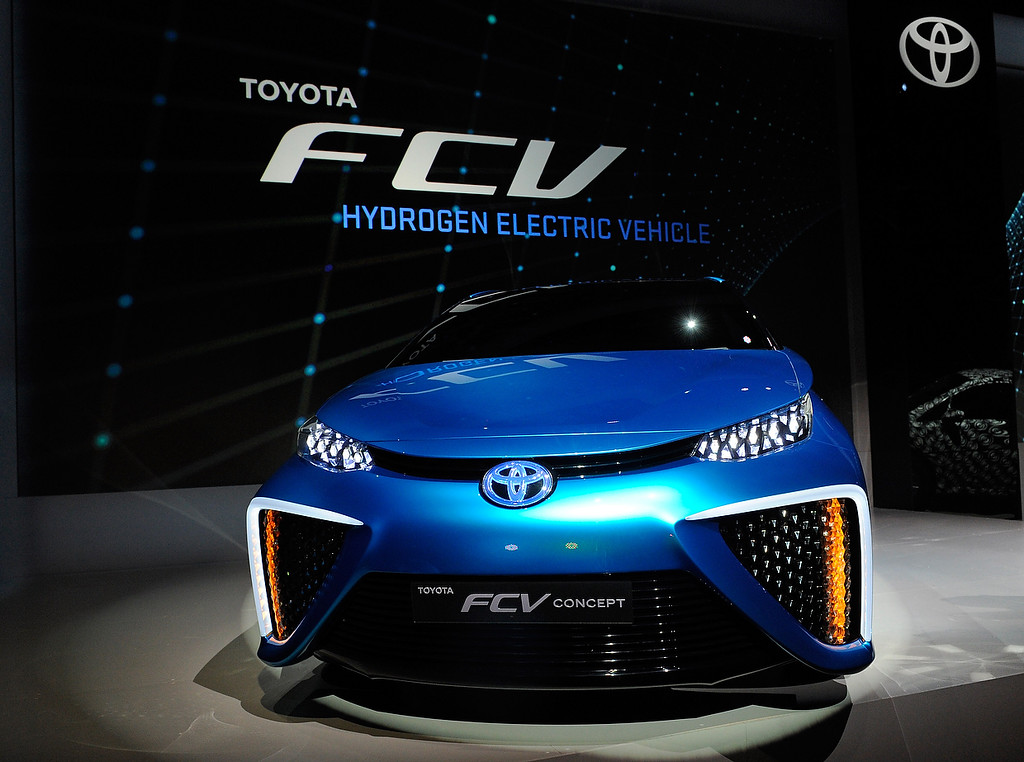. A Toyota fuel cell concept vehicle is displayed during press event at the Mandalay Bay Convention Center for the 2014 International CES on January 6, 2014 in Las Vegas, Nevada. (David Becker/Getty Images)