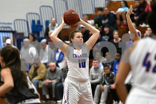 3/1/2018 Mike Orazzi   Staff St. Paul's Molly Hooks (10) during the Class M Second Round of the CIAC 2018 State Girls Basketball Tournament with Stonington in Bristol Thursday night.