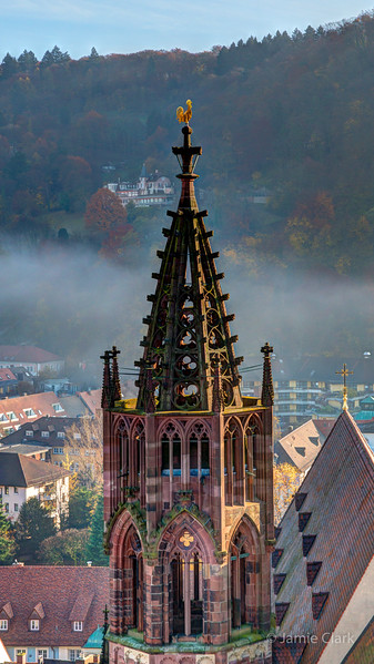 Foggy morning atop Freiburger Muenster. Freiburg, Germany