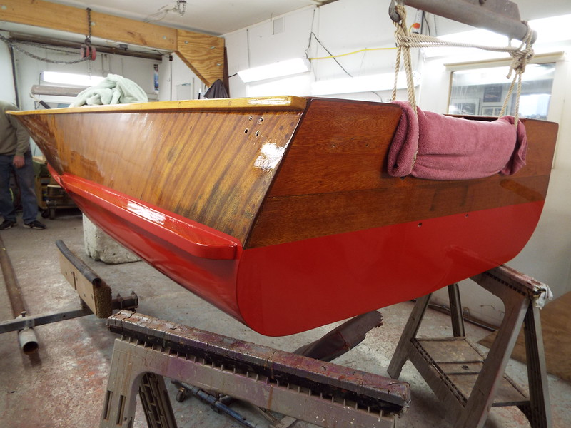 Port rear view with three coats of red applied.