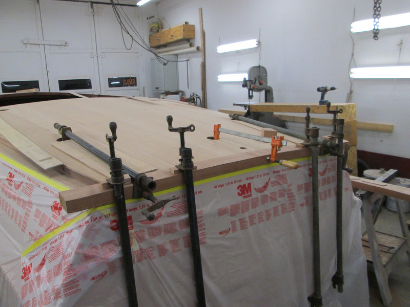 Transom cover board being fit.