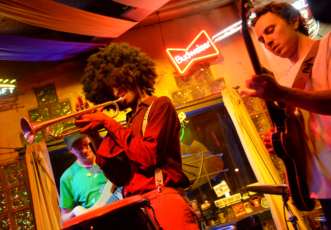 . Wesley Watkins, center, and his band The Other Black performed at Lincoln\'s Road House Thursday night, April 10, 2014. A larger version of the group will play a gospel brunch at the Larimer Lounge on Easter Sunday. (Photo by Karl Gehring/The Denver Post)