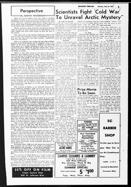 Summer Trojan, Vol. 11, No. 10, July 24, 1961