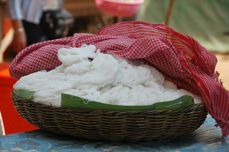 Fresh Rice Noodles Under a Kromar (Cambodian Scarf) - Siem Reap, Cambodia