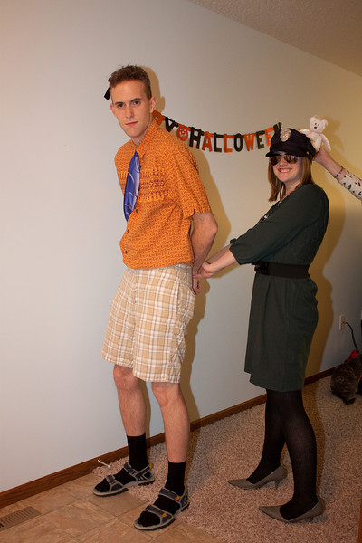 Joel and Meghan as Really Bad Dresser and Fashion Police. Also, Beanie Baby Bear.