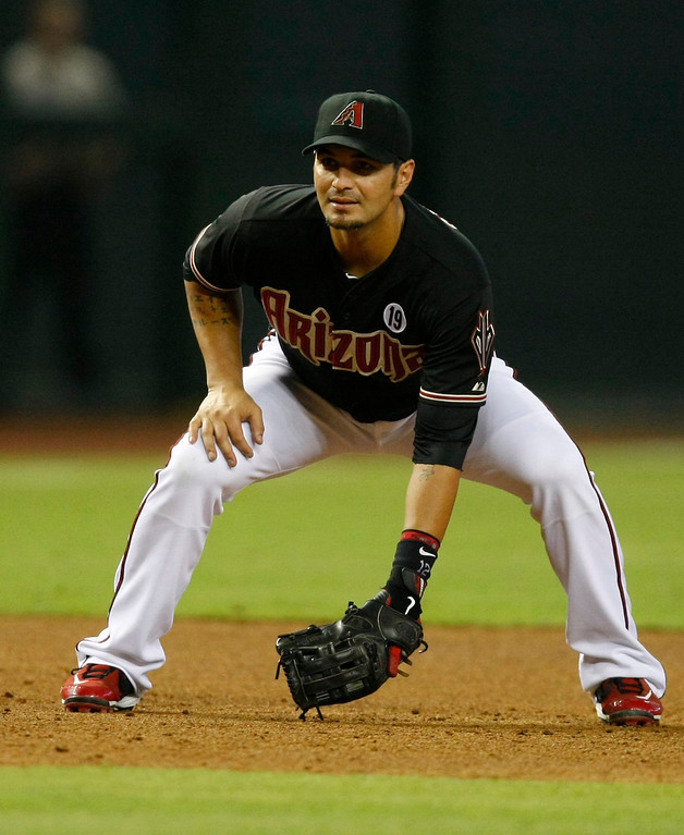 . Arizona Diamondbacks third baseman Eric Chavez (12) in the first inning during a baseball game against the Los Angeles Dodgers on Monday, July 8, 2013, in Phoenix. (AP Photo/Rick Scuteri)