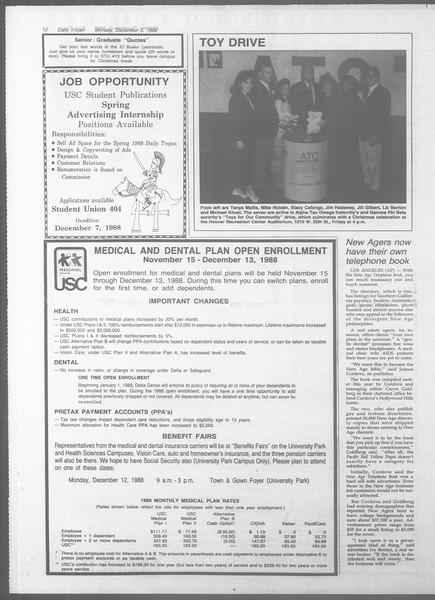 Daily Trojan, Vol. 107, No. 60, December 05, 1988