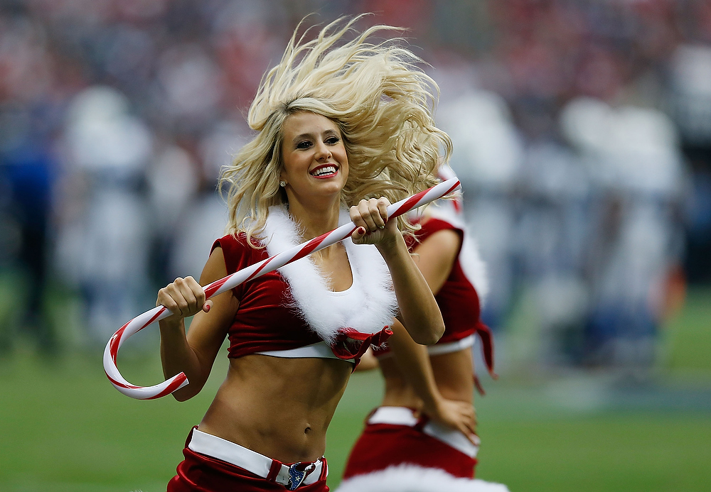 . Houston Texans cheerleaders performs for the fans during the game against the Indianapolis Colts at Reliant Stadium on December 16, 2012 in Houston, Texas.  (Photo by Scott Halleran/Getty Images)