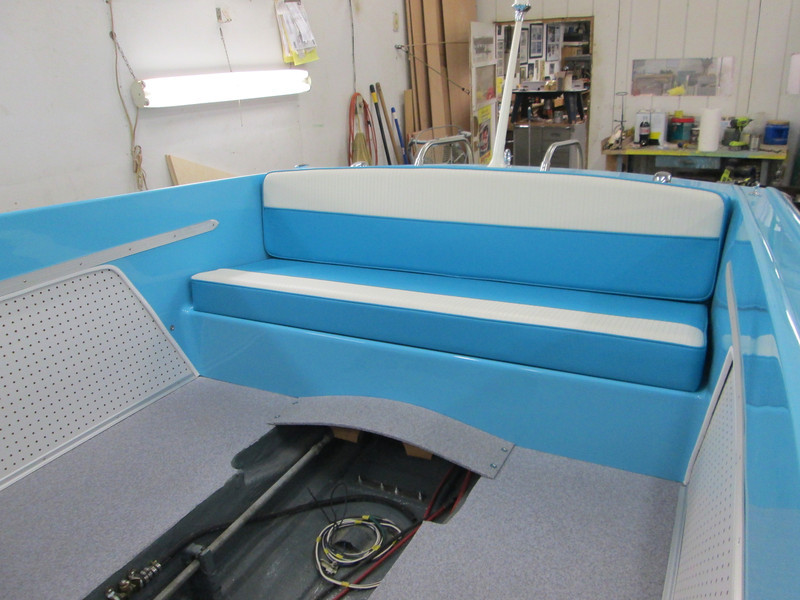 Rear seat installed. We are presently designing rear seat back mounts so the seat can be removed to get to the ski rack.