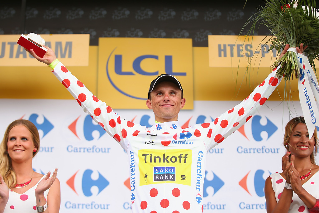 . Rafal Majka of Poland and Tinkoff-Saxo retained his polka dot King of the Mountains Jersey after the eighteenth stage of the 2014 Tour de France, a 146km stage between Pau and Hautacam, on July 24, 2014 in Hautacam, France.  (Photo by Bryn Lennon/Getty Images)