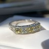 2.30ctw Fancy Yellow and White French Cut Diamond 5-Stone Band 10