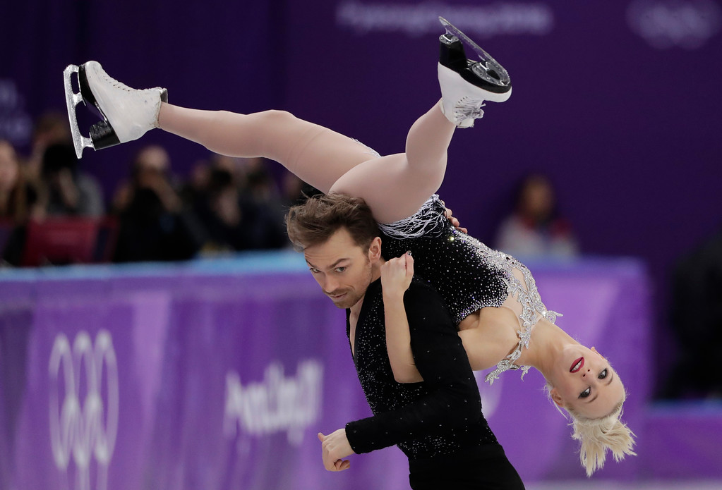 . Penny Coomes and Nicholas Buckland of Britain perform during the ice dance, short dance figure skating in the Gangneung Ice Arena at the 2018 Winter Olympics in Gangneung, South Korea, Monday, Feb. 19, 2018. (AP Photo/Julie Jacobson)