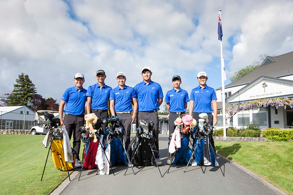 Photo of the Japanese players on Practice Day 1 of the Asia-Pacific Amateur Championship tournament 2017 held at Royal Wellington Golf Club, in Heretaunga, Upper Hutt, New Zealand from 26 - 29 October 2017. Copyright John Mathews 2017.   www.megasportmedia.co.nz