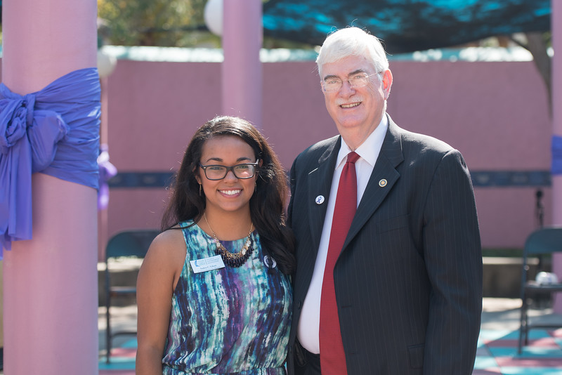 Andrea Gilson and Dr. Flavius Killebrew during the Go Purple Domestic Violence Prevention Month Kickoff event.