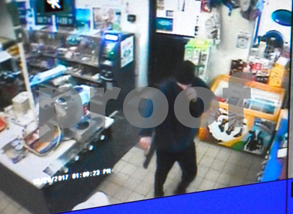 12/20/2017 Mike Orazzi | Staff A suspect in a robbery of the Valero Gas station on Pine Street near the Plainville town line in Bristol Wednesday afternoon.