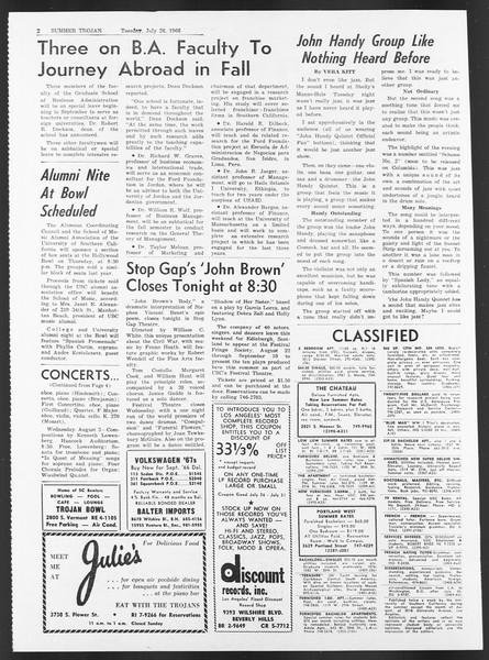 Summer Trojan, Vol. 17, No. 10, July 26, 1966