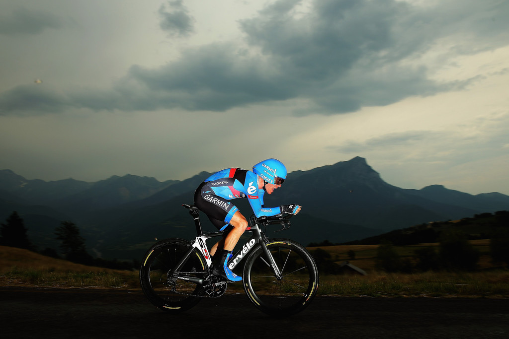 . CHORGES, FRANCE - JULY 17:  Andrew Talansky of the USA and Team Garmin- Sharp in action during stage seventeen of the 2013 Tour de France, a 32KM Individual Time Trial from Embrun to Chorges, on July 17, 2013 in Chorges, France.  (Photo by Bryn Lennon/Getty Images)