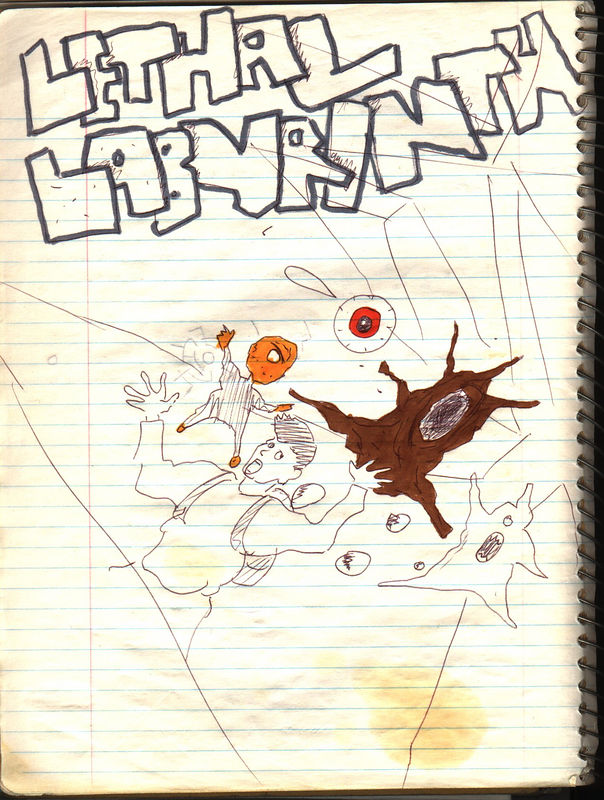 This is Christian's title page for the comic.  I didn't really try to clean up these scans. :)