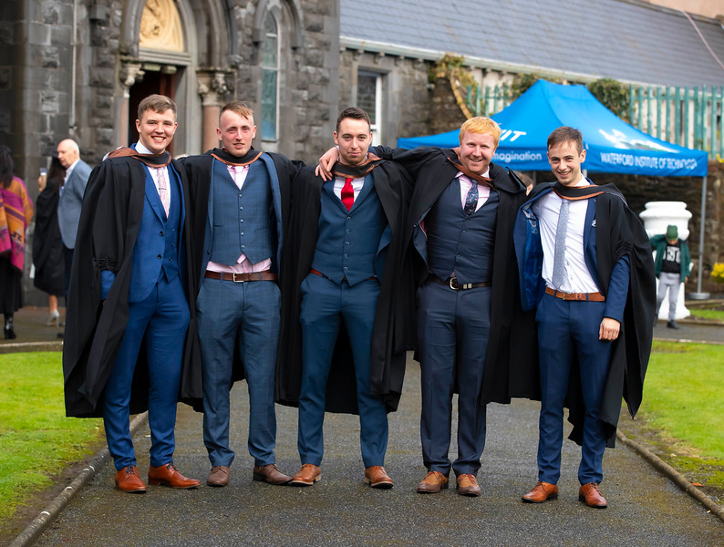 01/11/2019. Waterford Institute of Technology (WIT) Conferring Ceremonies. Pictued are John Murphy Carlow, Robert Cuddihy Kilkenny, William Moylan Kilkenny, James Furlong Adamstown and John Walton Kilkenny. Picture: Patrick Browne