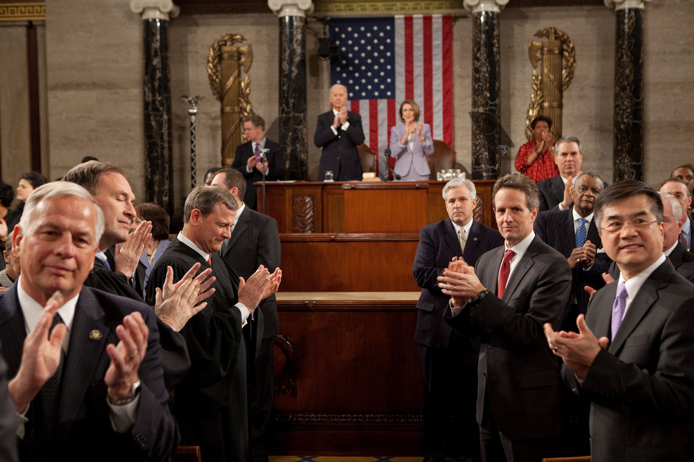 ". Jan. 27, 2010 ""As the President entered the House chamber to give his State of the Union address, I turned around to see his pathway to the podium. It reminded me of a scene from the movie, \""The American President.\"" (Official White House photo by Pete Souza)"