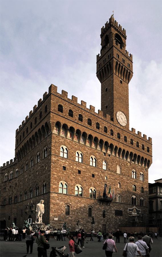 Palazzo Vecchio and clock tower with Fountain of Neptune