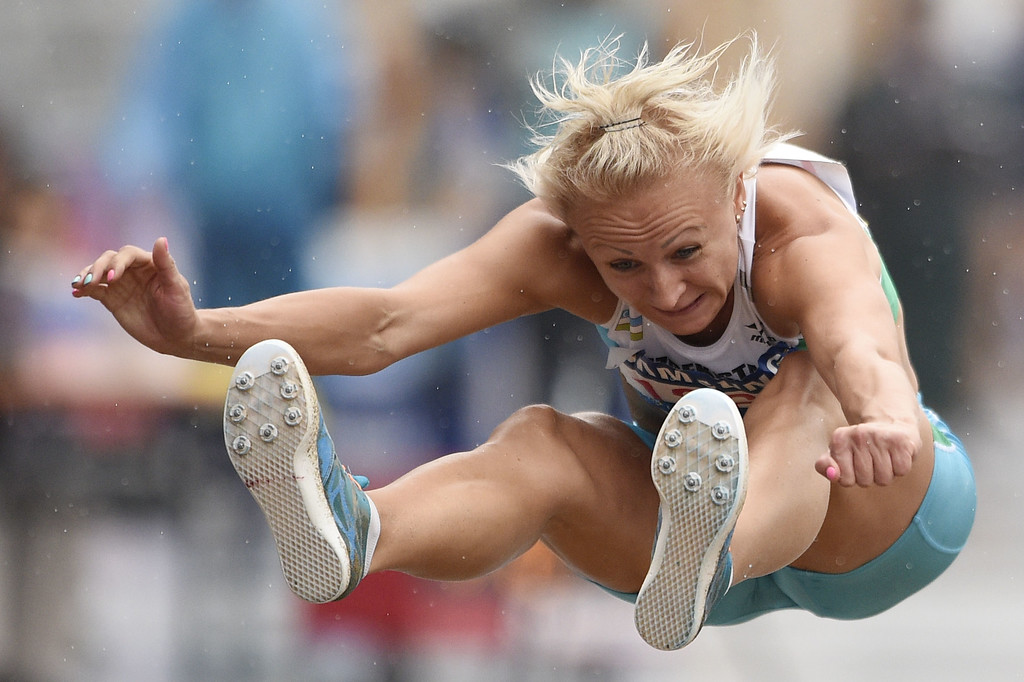 . Uzbekistan\'s Yuliya Tarasova competes in the women\'s heptathlon long jump athletics event during the 17th Asian Games at the Incheon Asiad Main Stadium in Incheon on September 29, 2014.  MARTIN BUREAU/AFP/Getty Images