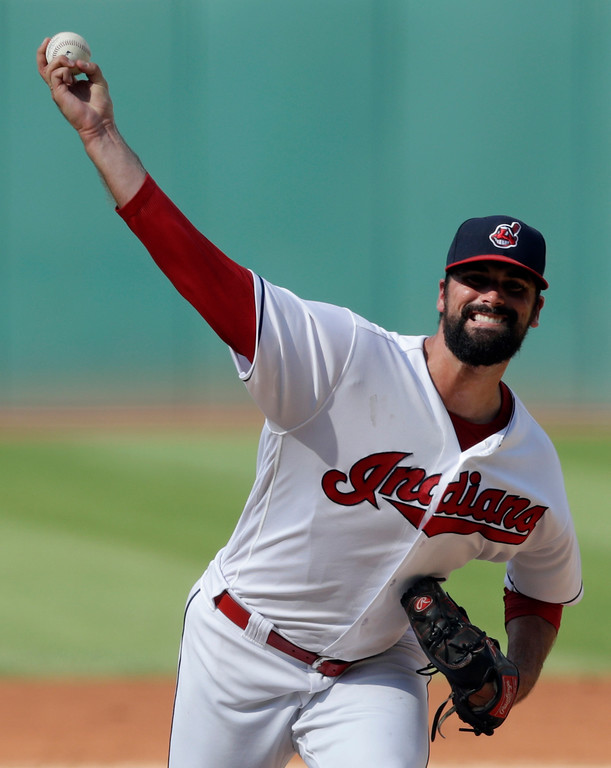 . Cleveland Indians starting pitcher Adam Plutko delivers in the first inning of a baseball game against the Kansas City Royals, Monday, Sept. 3, 2018, in Cleveland. (AP Photo/Tony Dejak)