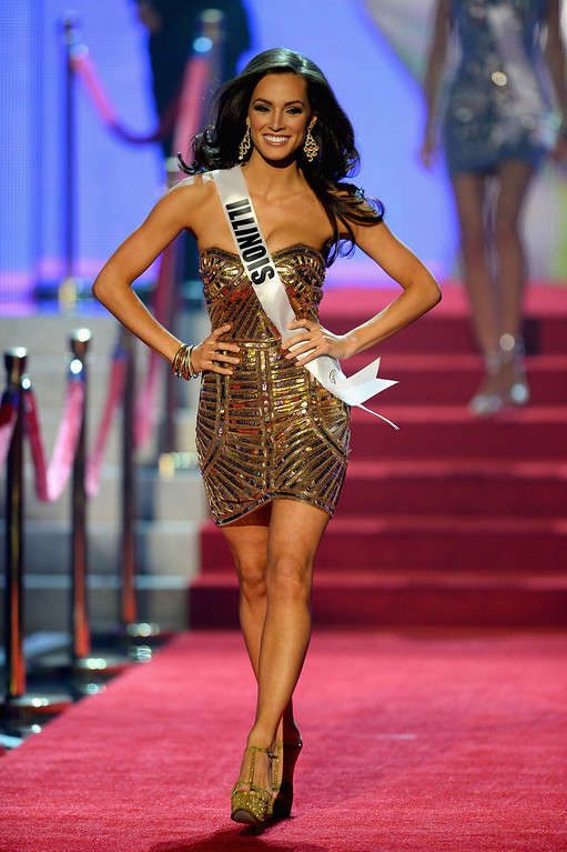 . Miss Illinois USA Stacie Juris walks onstage during the 2013 Miss USA pageant at PH Live at Planet Hollywood Resort & Casino on June 16, 2013 in Las Vegas, Nevada.  (Photo by Ethan Miller/Getty Images)