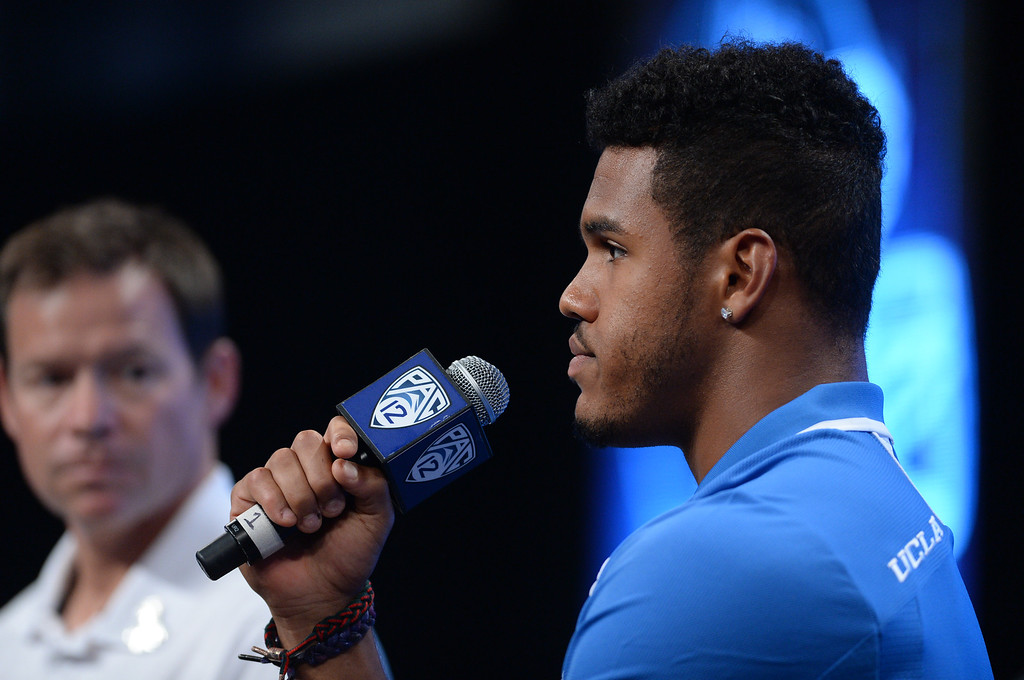 . UCLA LB Anthony Barr. Pac12 media Day at Sony Studios.  Photo by Brad Graverson 7-26-13