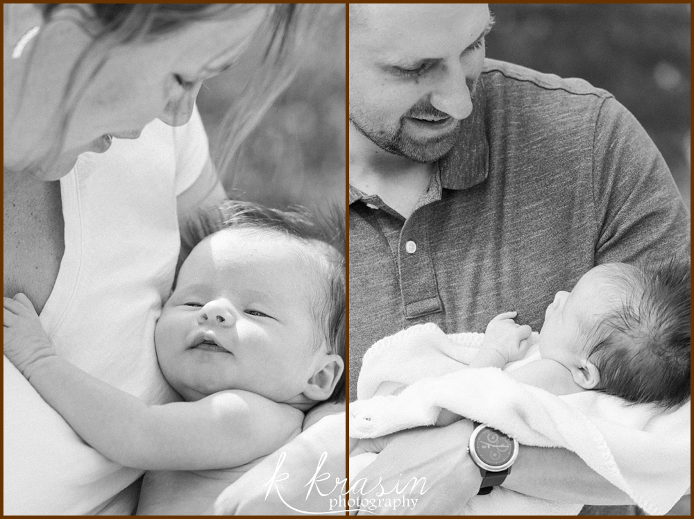 Collage of photos of mother and newborn baby and father and newborn baby in black and white