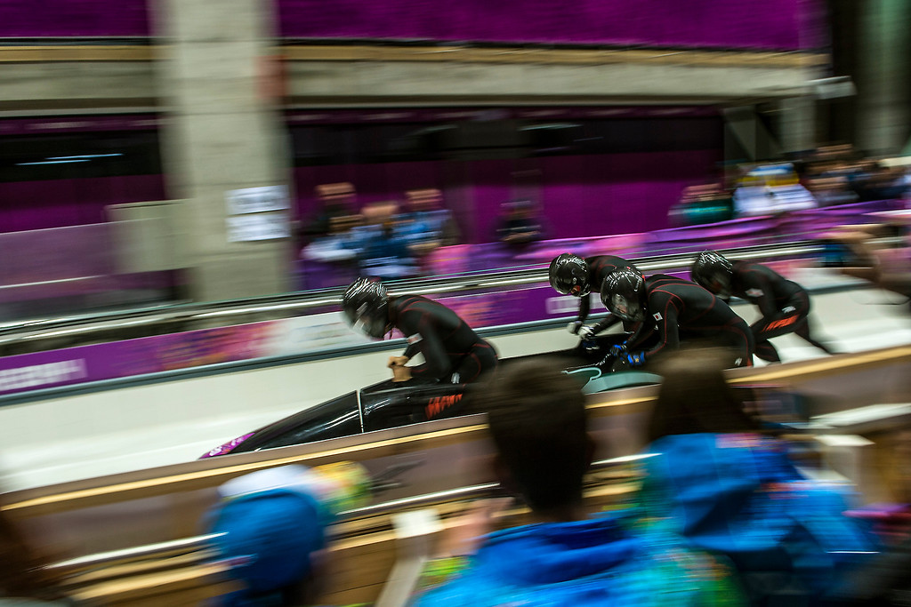 . Team Japan competes in the four-man bobsled at Sanki Sliding Center during the 2014 Sochi Olympics Saturday February 22, 2014. They are currently in 26th place with a time of 56.41. (Photo by Chris Detrick/The Salt Lake Tribune)