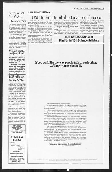 Daily Trojan, Vol. 61, No. 75, February 17, 1970