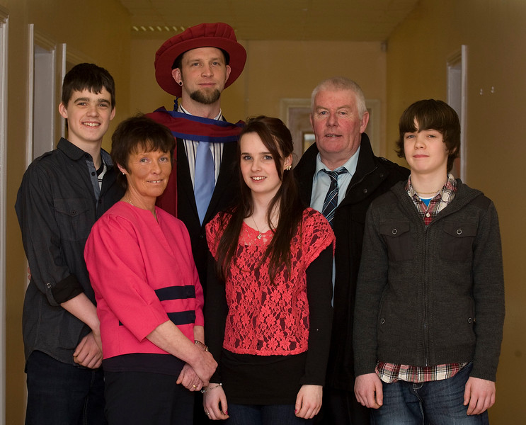 4/1/2012. News. Waterford Institute of Technology (WIT), conferring ceremony. Pictured is Larry Fitzhenry, Enniscorthy, Co Wexford who was conferred a Doctor of Philosophy, also pictured are his children Adam, Rebecca and Thomas and his parents Shelia and Thomas. Photo Patrick Browne