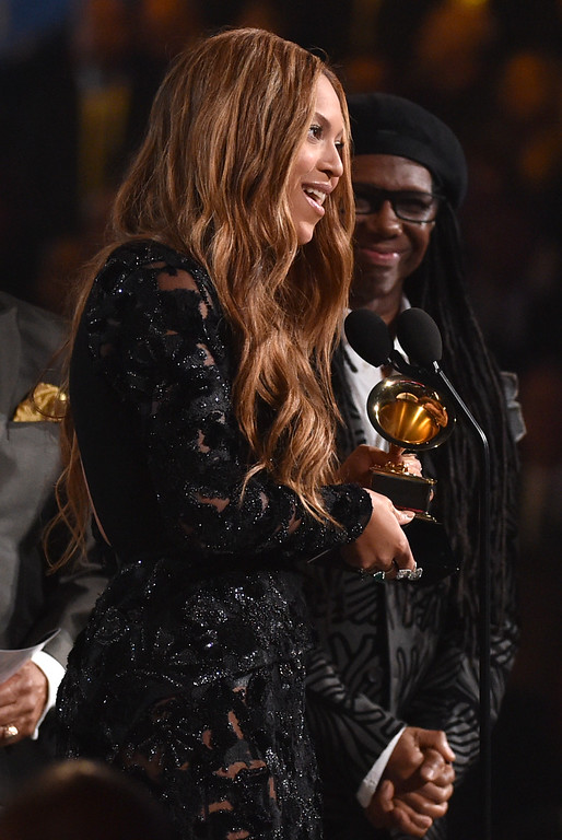 . Beyonce accepts the award for best R&B performance for �Drunk in Love� at the 57th annual Grammy Awards on Sunday, Feb. 8, 2015, in Los Angeles. (Photo by John Shearer/Invision/AP)