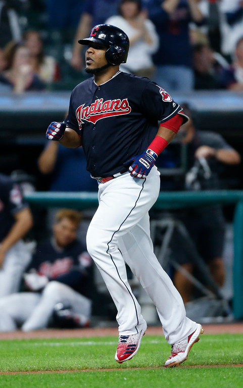 . Cleveland Indians\' Edwin Encarnacion rounds the bases after hitting a solo home run off Detroit Tigers starting pitcher Matthew Boyd during the sixth inning of a baseball game, Friday, Sept. 14, 2018, in Cleveland. (AP Photo/Ron Schwane)